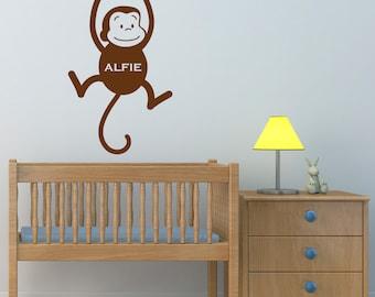 Personalised Monkey Wall Sticker, Monkey Wall Decal, Jungle Wall Art, Animal Wall Transfers, Childrens Nursery Wall Stickers - PE008