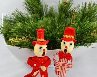 Vintage Mid Century Clown Christmas Ornaments Made in Japan