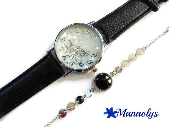Butterfly and strap watch fine glass cabochon black, silver chains, gift idea, mother's day, birthday