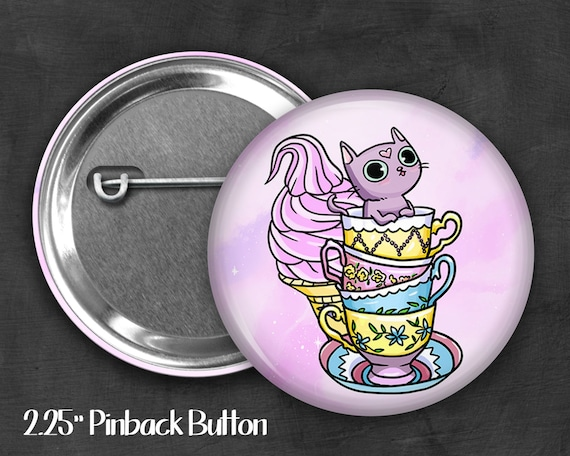 "2.25"" Derp Kitty Pinback Button, Geek Button, Geekery, Button, Kawaii Button, Badges, Flare, Pin, Kawaii, Fairy Kei, Pastel Goth"