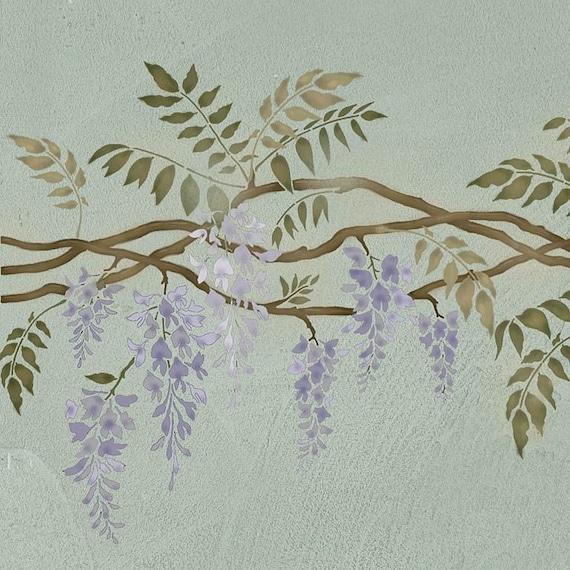 Stencil bordo glicine stencil riutilizzabili per decorazioni - Decorazioni stencil murali ...