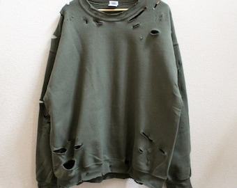 Distressed Unisex Sweatshirt style 2 (Green,Grey,Black)