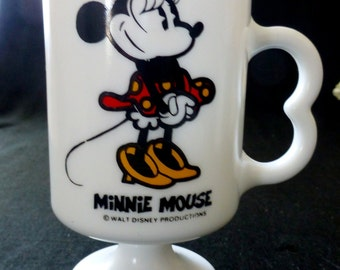 Minnie Mouse Milk Glass Walt Disney Productions Footed Mug with Mouse Ears Handle