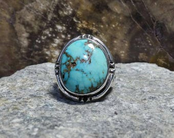 Mens Sterling Silver Ring; Royston Turquoise, Handmade, Size 12.5