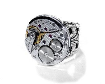 Steampunk Jewelry Mens Steampunk Ring Vintage HAMILTON Pinstripe Watch Wedding Fathers Groom Boyfriend Gift For Men - Jewelry by edmdesigns