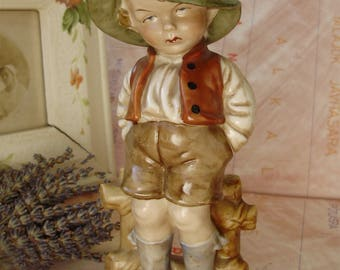 Large,Vintage German,Bertram porcelain child/boy  figurine,handpainted