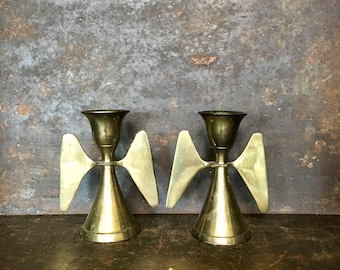 Vintage Set of 2 Modern Brass Angel Candleholders