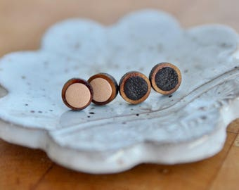 Small Brown Leather Stud Earrings | Leather Earrings