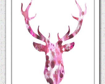 Deer head art Instant Download, 16x20 pink brown stag digital art,deer head watercolor print, pink deer head silhouette, abstract deer head