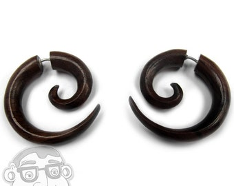 Sono Wood Fake Gauge Spirals Tribal Earrings (19G - 0.9mm) - New!