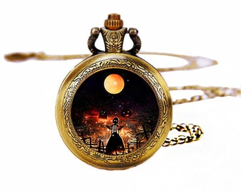 1pcs/ 35mm ,Halloween Witch Dream Glass pocket watch Necklace,Necklace Pendant,craft supply CA-05