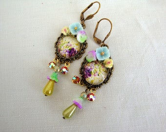 Purple earrings flowers earrings romantic and floral soft purple