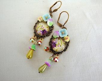 Purple earrings flowers earrings romantic and floral soft purple