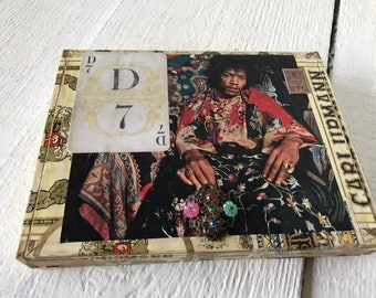 Vintage cigar box embellished Jimi Hendrix playing card jewelry finding/ free shipping US