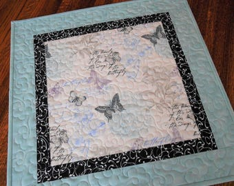 Butterfly Table Topper in Aqua Gray Lavender Black, Quilted Square Table Topper, Butterflies and Flowers, Square Table Runner, Candle Mat