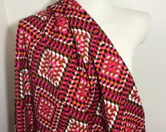 Geometric print cotton/ cotton blend stretch fabric, pink/red/ orange/ taupe 2yds