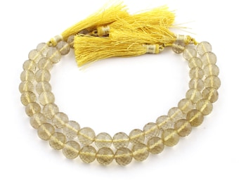 2 Strand Finest Quality Lemon Quartz Faceted Round Ball Briolettes - Ball Beads 9mm 9 Inches SB5195