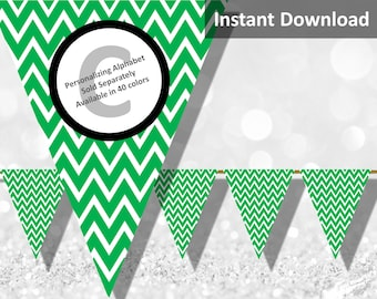 Green Chevron Bunting Pennant Banner Instant Download, Party Decorations