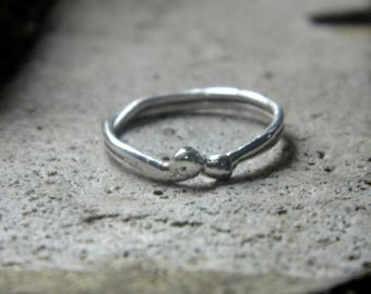 Silver ring, thread and balls, floral ring, minimalist shape, sterling silver rings.