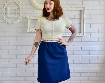 Vintage Blue and Cream Polyester Dress with Embroidered Flowers by The Villager Size XS Petite