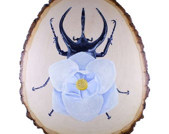 Print of Giant Rhinoceros Beetle Wood Painting | Insect Flower Acrylic On Basswood