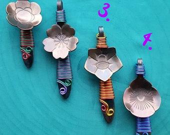 wirewrapped flower spoon pendant, spoon necklace, flower pendant, floral jewelry, teaspoon jewelry, spoon jewellery, rvs jewelry, botanical