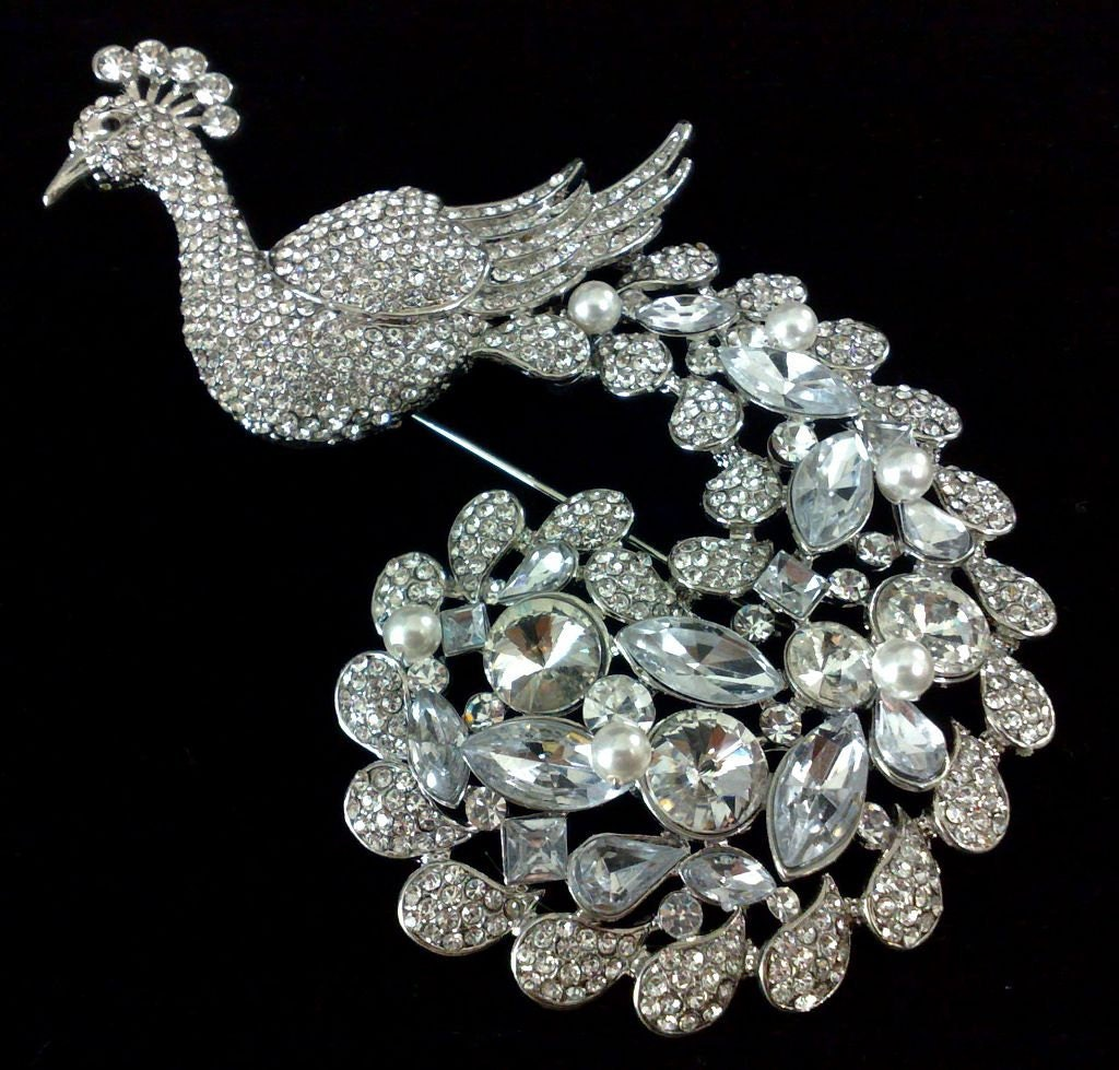 peacock wedding brooch swarovski bridal broach wedding dress