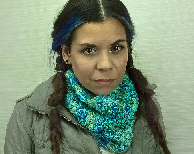 Velvet Infinity Scarf Teal and Blue Circle  Cowl Handmade Christmas Gift Ready to ship