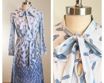 30% Off Sale 70s Cora's Closet Blue Feather Print Pussy Bow Belted Secretary Dress, size Medium
