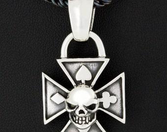Iron Cross Knight Templar Skull Spades, Hearts, Diamonds & Clubs 925 Sterling Silver Pendant Gothic Jewelry