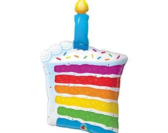 "Birthday Cake Balloon - Candle Foil Balloon - 42"" Happy Birthday Balloon - Rainbow Balloon Jumbo First Party Balloons !st Bdy mylar balloon"