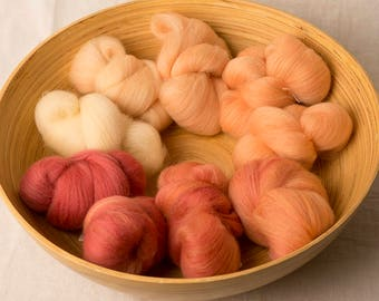 Soft and Warm Gradient set in yellow, orange and red, perfect for spinning or felting (170223)