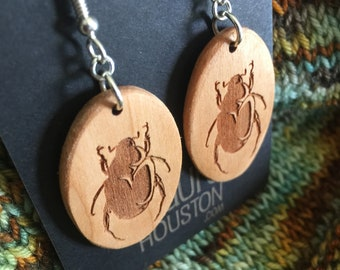 Wooden Beetle Earrings