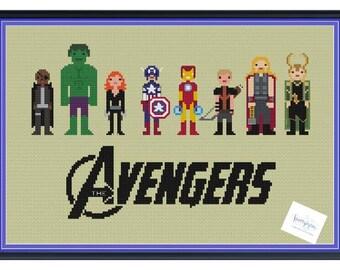 The Avengers Unofficial Cross Stitch DIGITAL PDF (pattern only) Nick Fury, Hulk, Black Widow, Iron Man, Captain America, Hawkeye, Thor, Loki