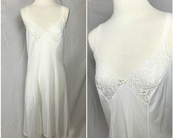 Olga White Nylon  Full Slip with Sheer Lace Cups - Size Bust 36