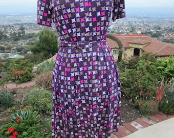 Vintage 1960's Stroller Style Dress, Pleated Dress, Belted Dress, Vintage Day Dress 1960's MOD Dress Mad Men Work Dress