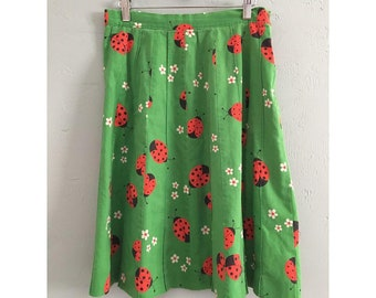 Vintage Green Ladybug Skirt