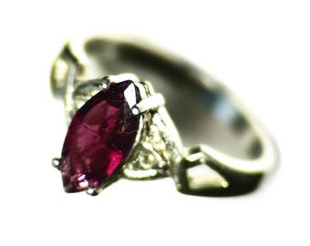 Purple Tourmaline Ring Size 6 Sterling Silver (.81 ct) November Birthstone Ring, Red Tourmaline Solitaire Ring, Pink Tourmaline Ring For Her