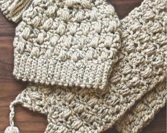 PATTERN SET Madeleine Tasseled Beanie & Scarf Crochet Pattern | Adult Chunky Scarf, Chunky Beanie | Tassels | Photo Tutorial | Winter Scarf