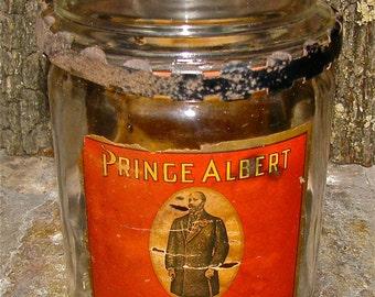 Antique Prince Albert Tobacco Humidor with Original Label / Glass Jar /  Cigarette, Cigar,Tobacco