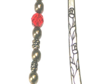 Unique Brass Basketball & Hoop Bookmark with Red Swarovski Rondelle Crystal
