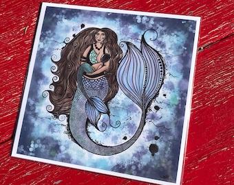 Breastfeeding Mermaid Art Print - Mixed Media - Ink, Watercolour and Digital