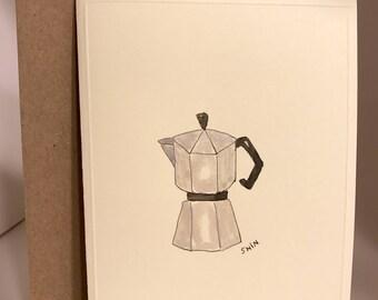 Coffee Series, coffee, mocha pot, moka pot, coffee maker, espresso, water colored, hand drawing, hand made card