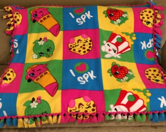 Shopkins fleece blanket, Shopkins Blanket, Girl Blanket, Girl Bedding,