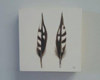 Double plume aquarelle peinture originale, pic, art moderne, décoration, art de la nature, art de la plume, dessin original