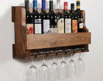 Natural Wine Rack -(Brown)wall shelf,wine shelf,glass holder, Wine Storage,Handmade,wooden,wall rack,wood,bottle shelf