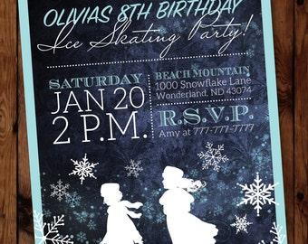 Winter Girl Birthday Invitation, Ice Skating Birthday Invitation, Ice Skating Party Invitation, Birthday Skating Party, Skating Invitation