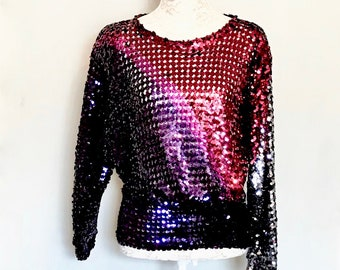 Vintage Disco 70s Sequin Toppett Ladies Top   LV136
