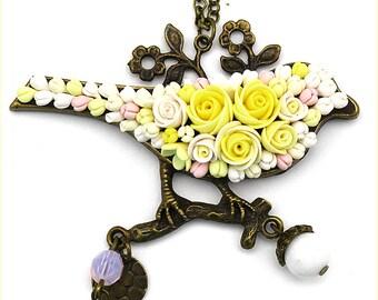 Polymer Clay Jewelry Polymer Clay Necklace Pendant Fashion Jewelry Boho Jewelry Floral Pendant Necklace Yellow Pendant Boho necklace Gift