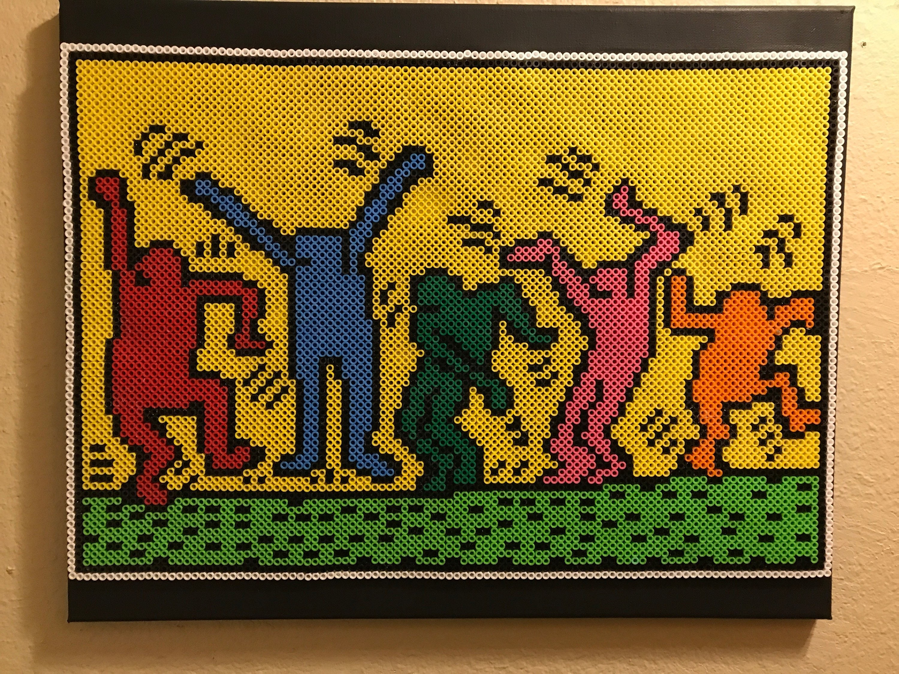 Keith Haring tribute made from thousands of Perler beads